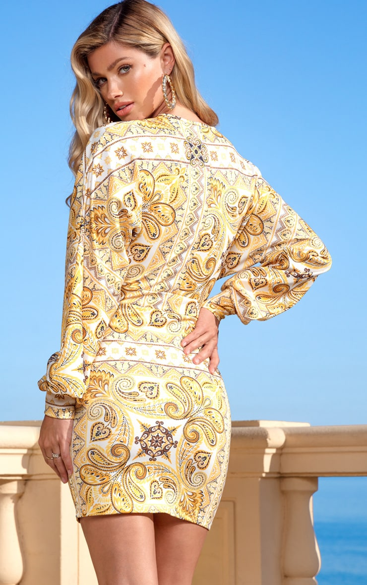 Yellow Tile Print Puff Sleeve Bodycon Dress 2
