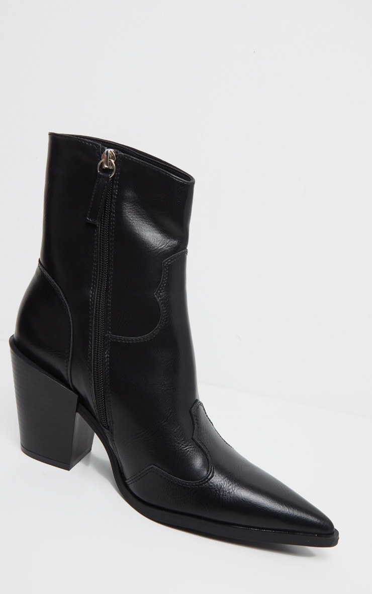 Black Point Toe Western Heel Ankle Boot 5