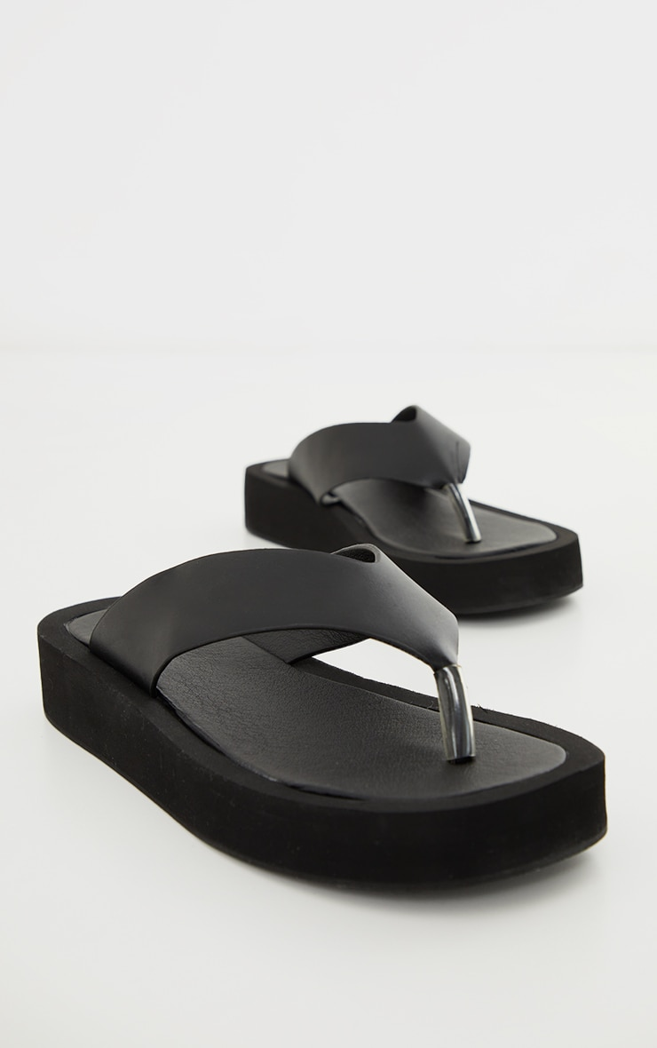 Black Pu Toe Post Flatform Sandals 3