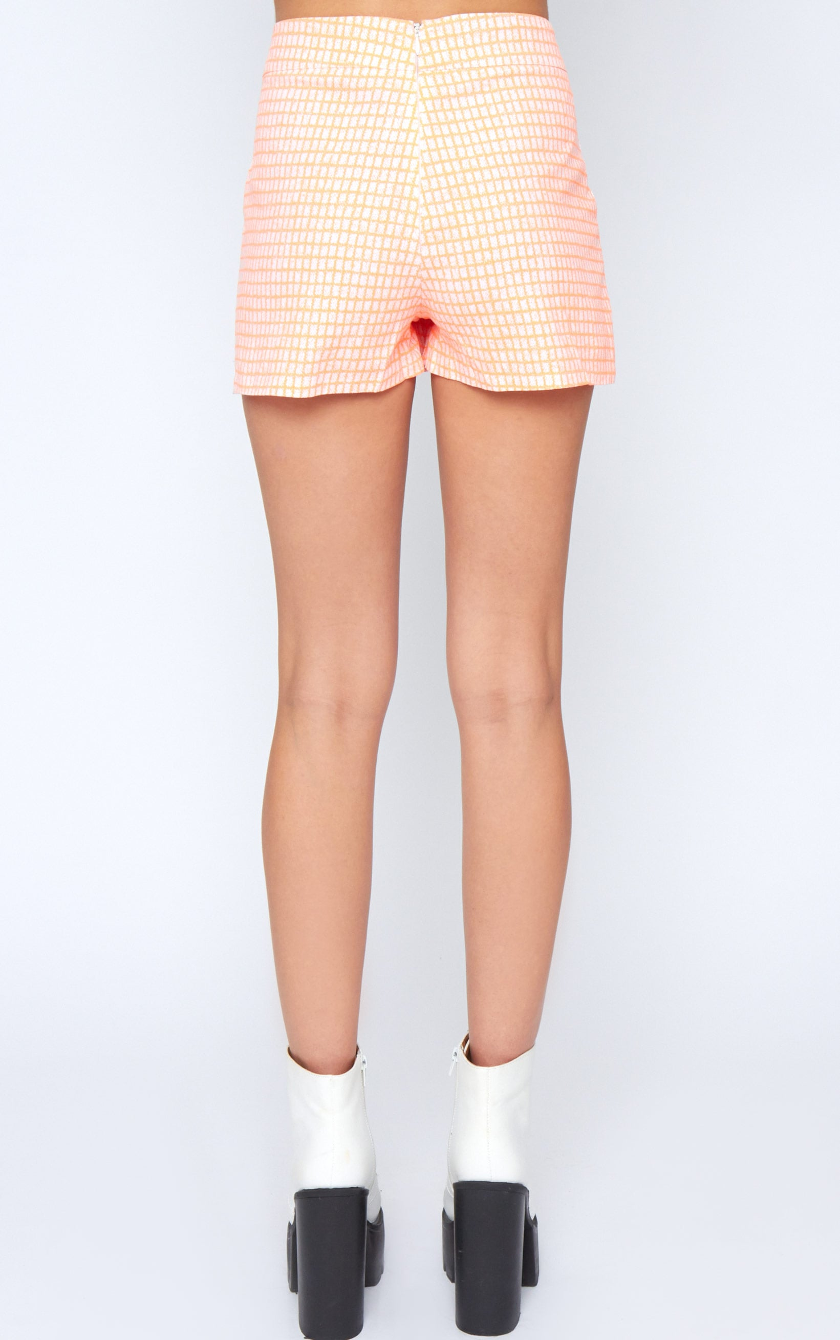 Mimi Orange Abstract Check Skort 2