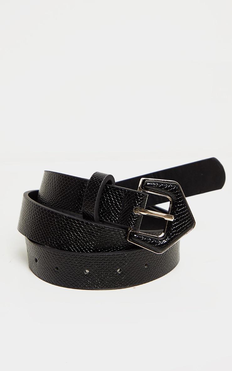 Black Snake Angled Buckle Jeans Belt 1