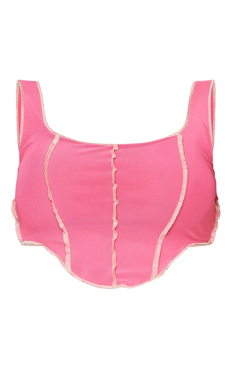 Shape Hot Pink Mesh Seam Detail Crop Top 6