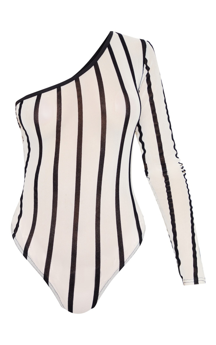 Nude One Shoulder Mesh Velvet Stripe Bodysuit 3