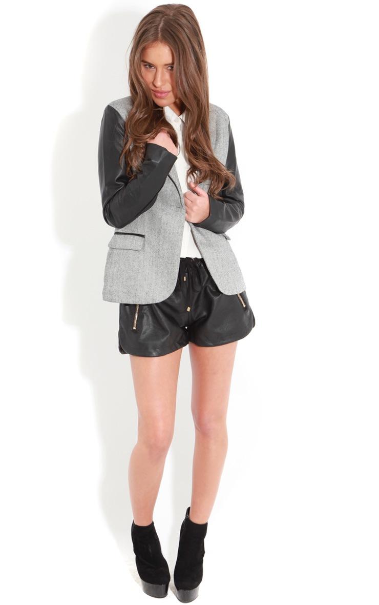 Lizzie Grey PU Sleeve Blazer 3