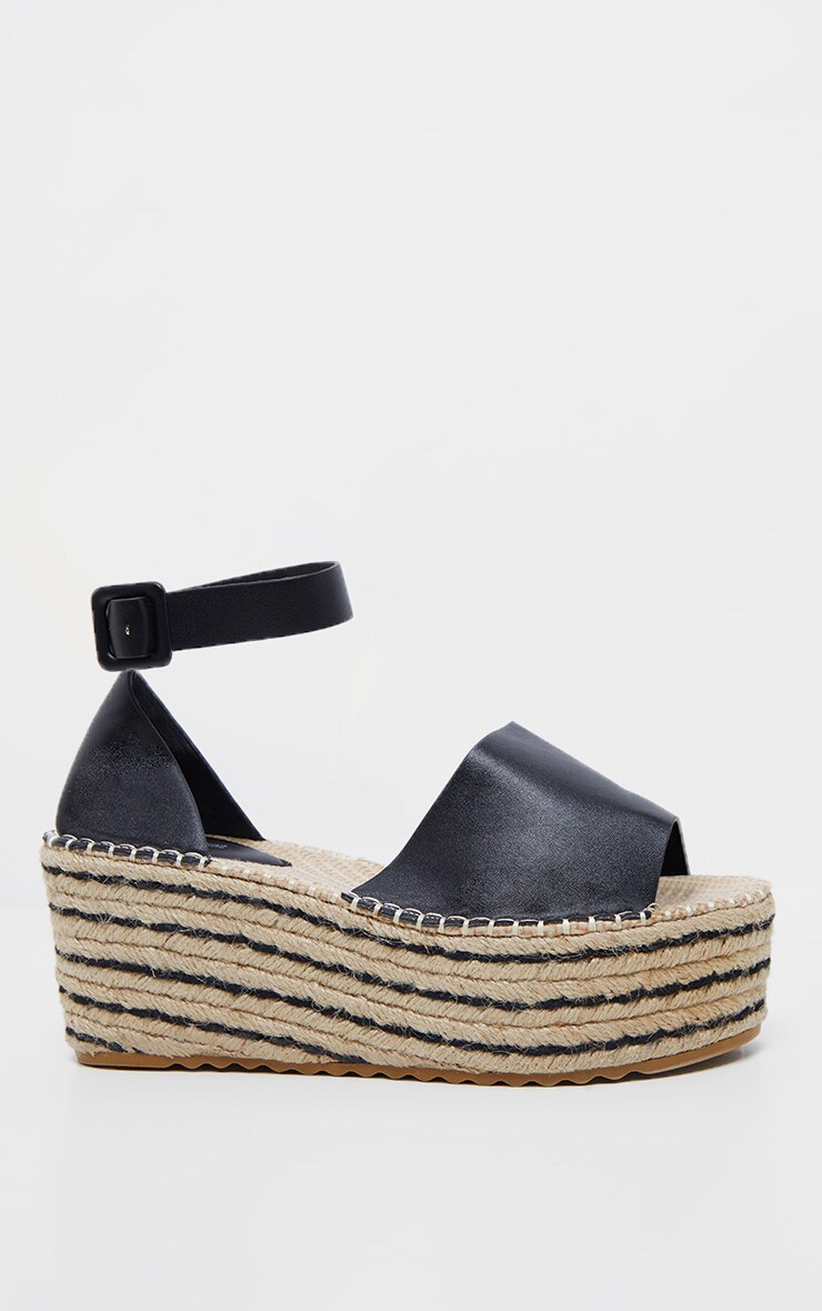 8149e771690 Black Buckle Detail Flatform Espadrille Sandal