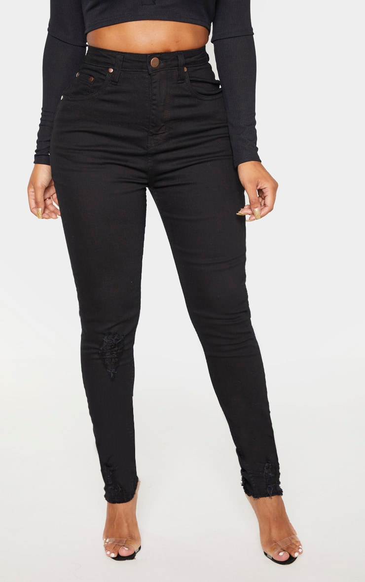 Shape Black High Waisted Distressed Cuff Jeans 2