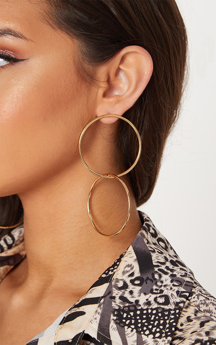 Gold Double Hoop Drop Earrings 1