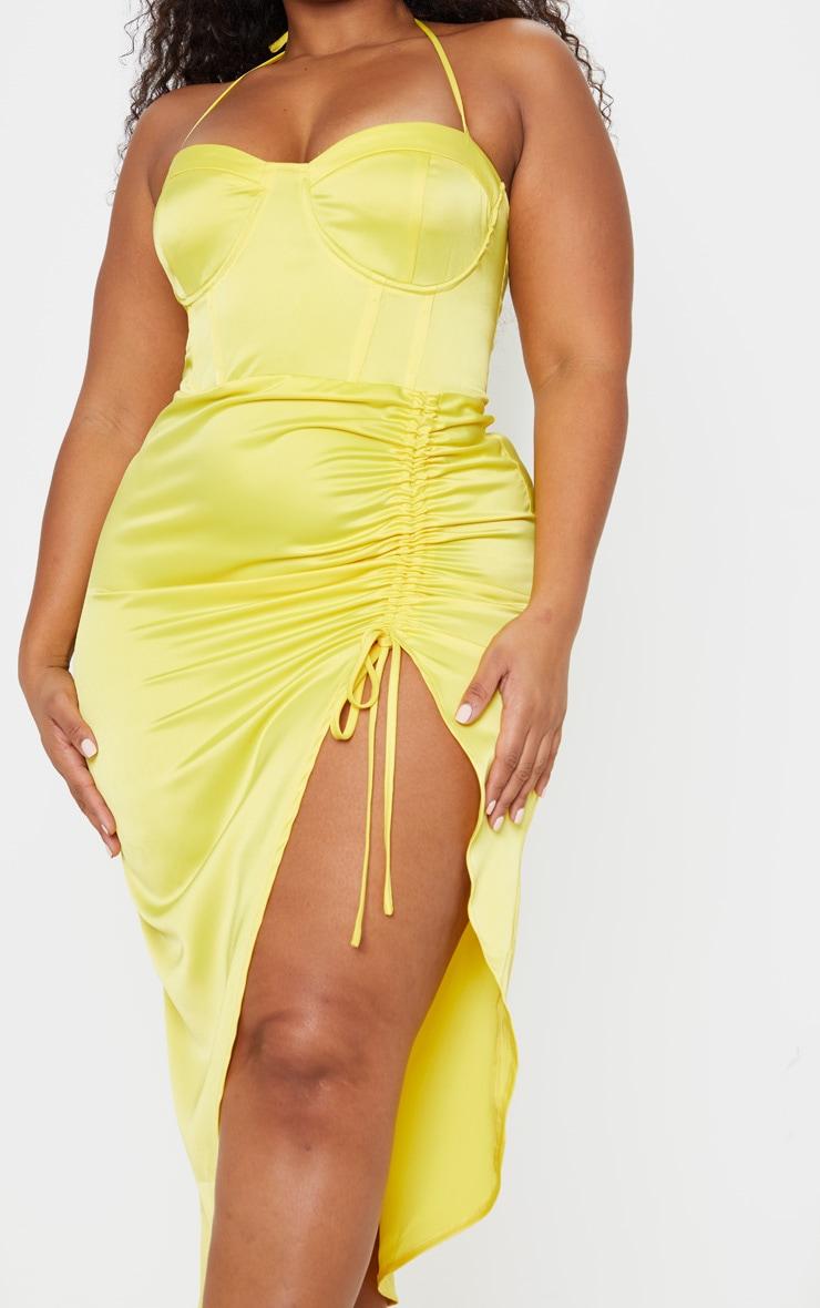 Plus Yellow Satin Corset Detail Ruched Side Midi Dress 6