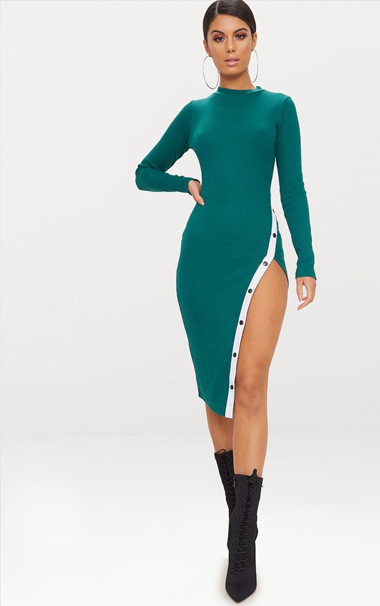 Emerald Green Long Sleeve Popper Detail Midi Dress 1