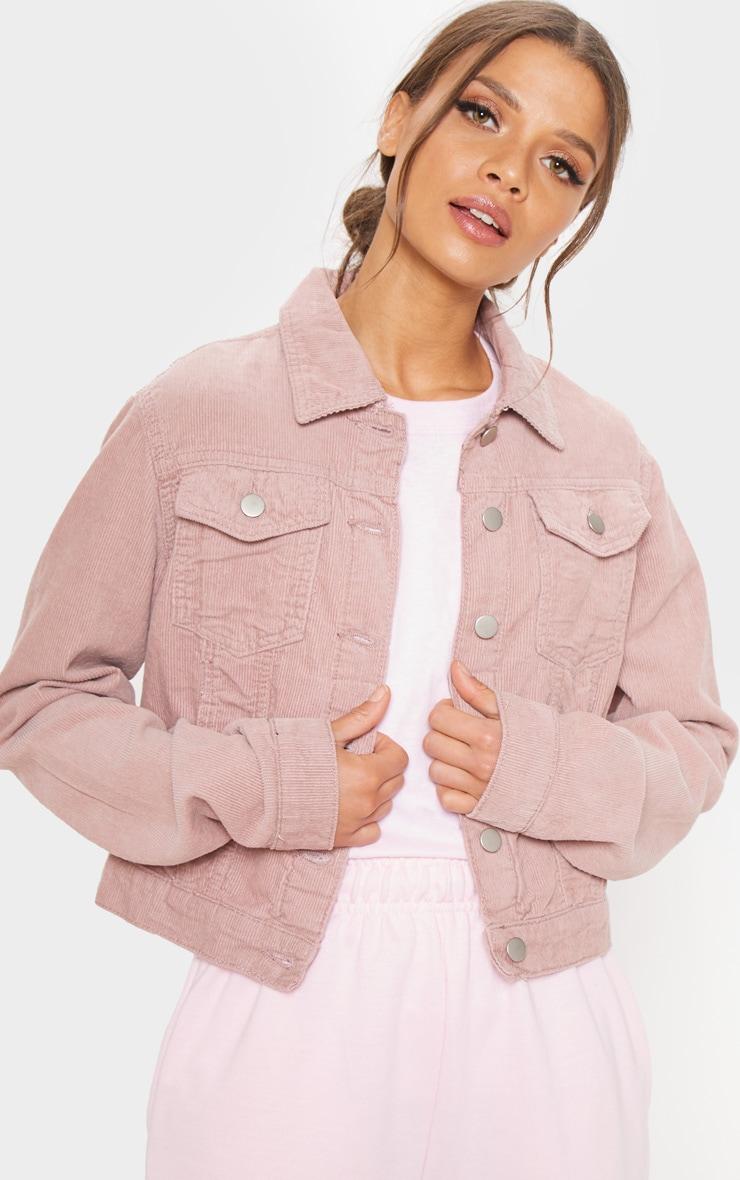 Dusty Pink Cord Cropped Denim Jacket 1