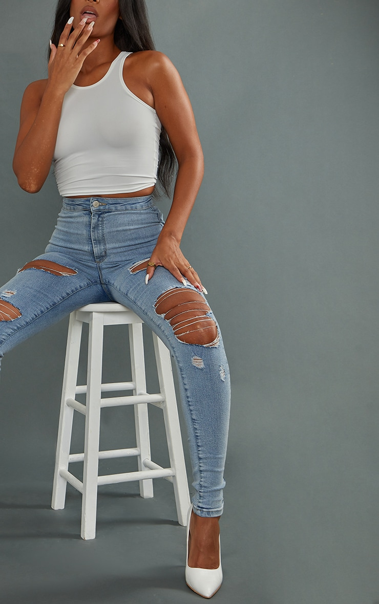 PRETTYLITTLETHING Vintage Wash Ripped Disco Skinny Jeans 4