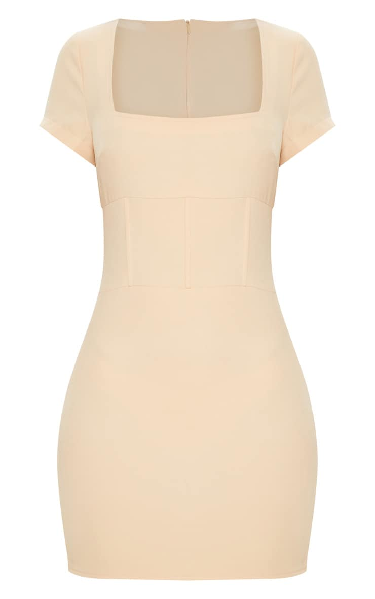 Nude Square Neck Basque Detail Bodycon Dress 3