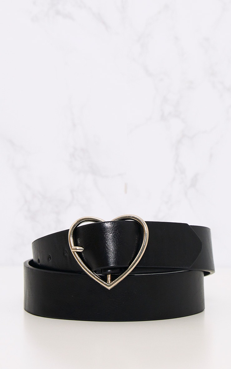 Black Basic Heart Buckle Waist Belt 3