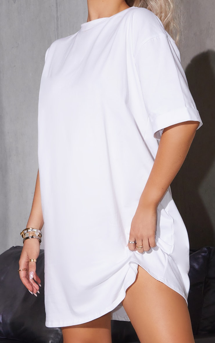 White Oversized Boyfriend T Shirt Dress 4