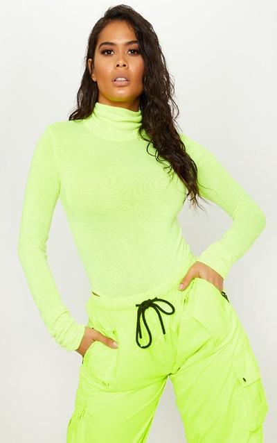 Neon Yellow Fine Knit Roll Neck Bodysuit a2661b02f