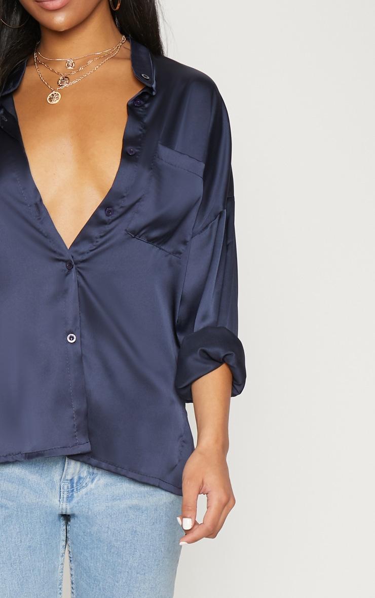 chemise en satin bleu marine col grand p re tops. Black Bedroom Furniture Sets. Home Design Ideas