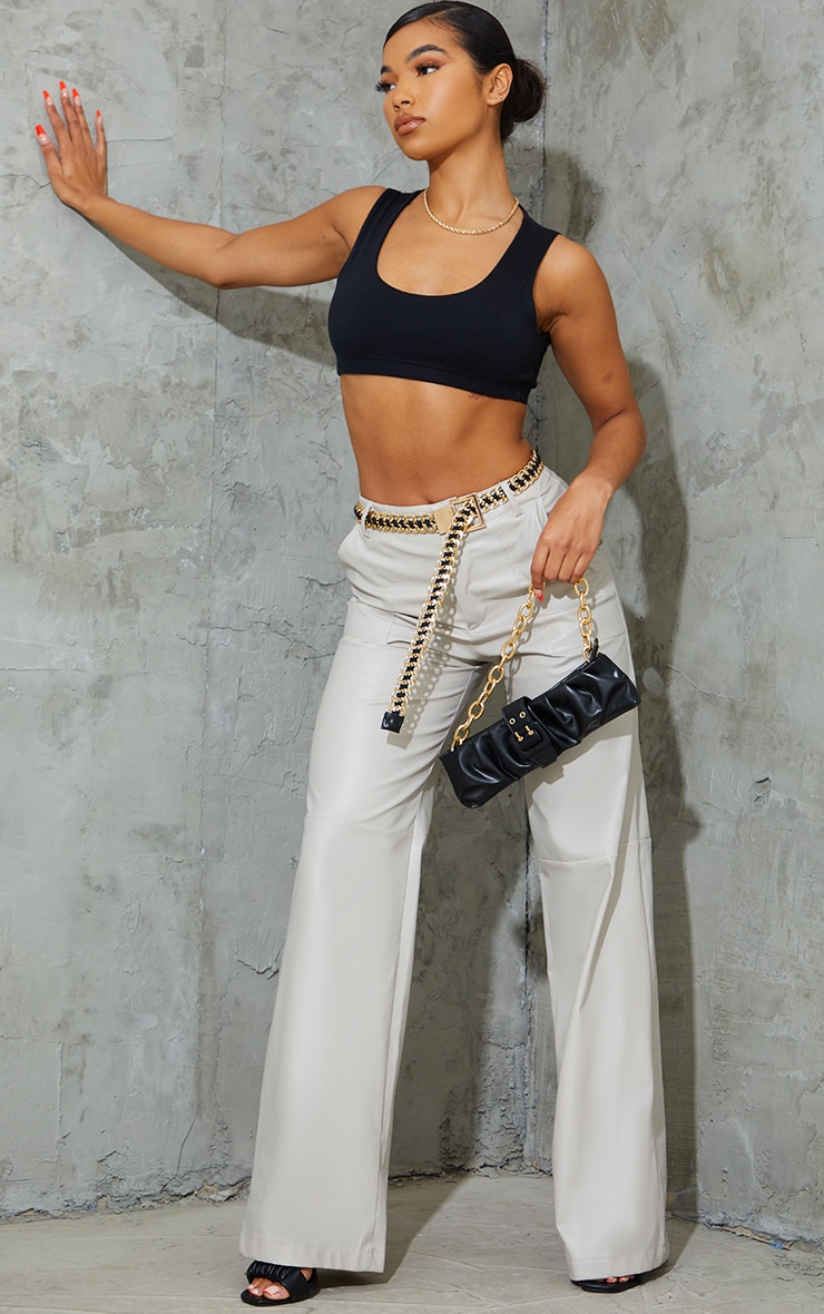 Stone Faux Leather Stitch Detail Wide Leg Trousers 1