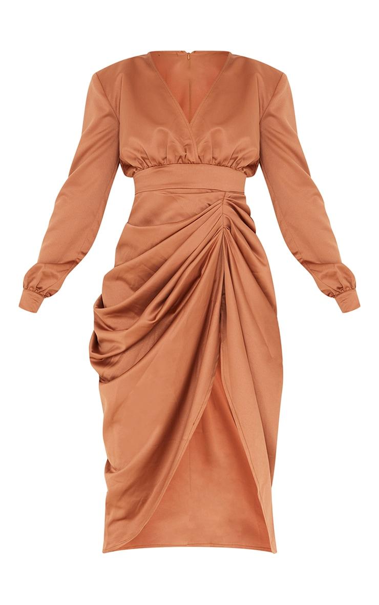 Brown Satin Wrap Long Sleeve Draped Midi Dress 5