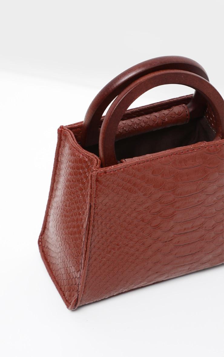 Tan Croc Wooden Handle Mini Bag 3