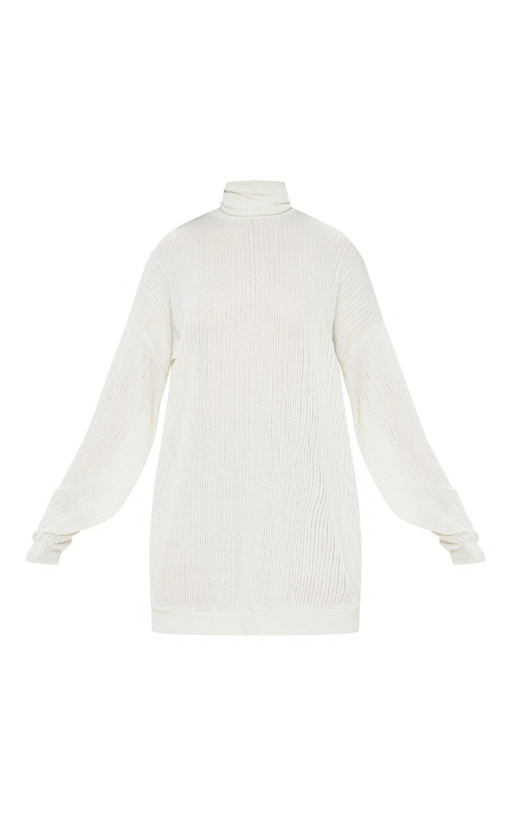 Cream Oversized Ribbed Jumper  3