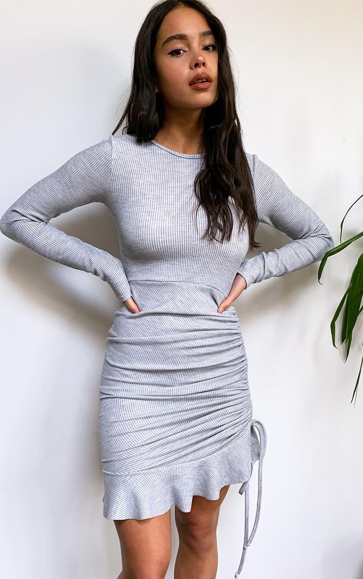 Grey Rib Frill Hem Long Sleeve Bodycon Dress 1