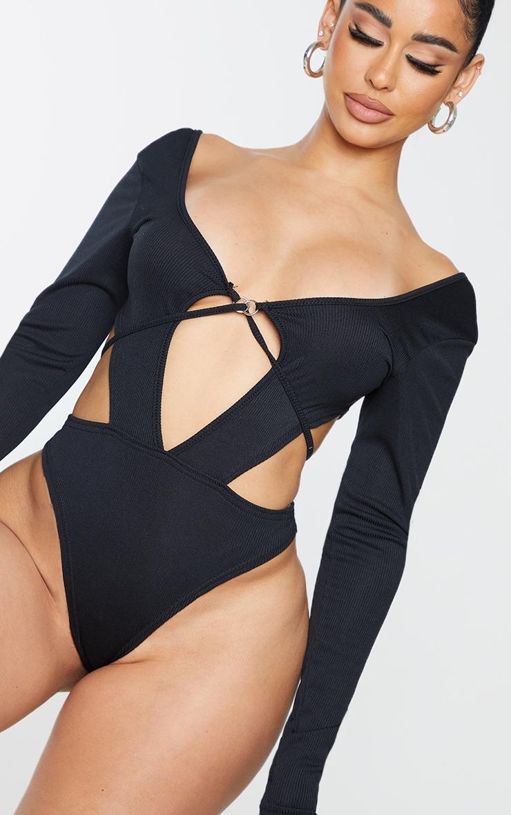 Shape Black Rib Cut Out Ring Detail Bodysuit 4