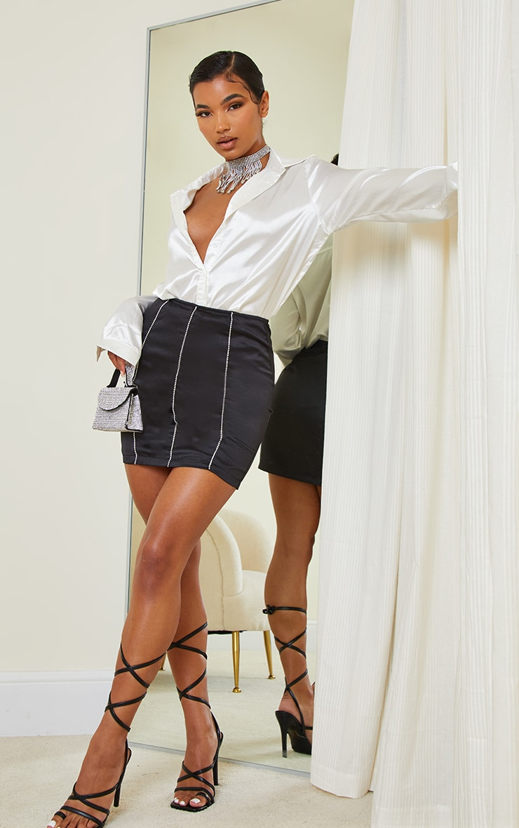 Black Diamante Trim Satin Mini Skirt 1