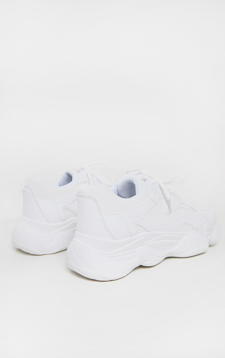 White Bubble Sole Lace Up Sneakers 4