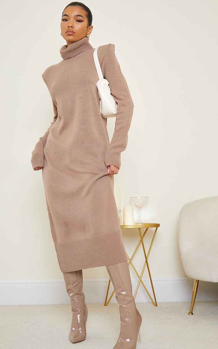 Camel Roll Neck Shoulder Pad Knitted Midi Sweater Dress 3