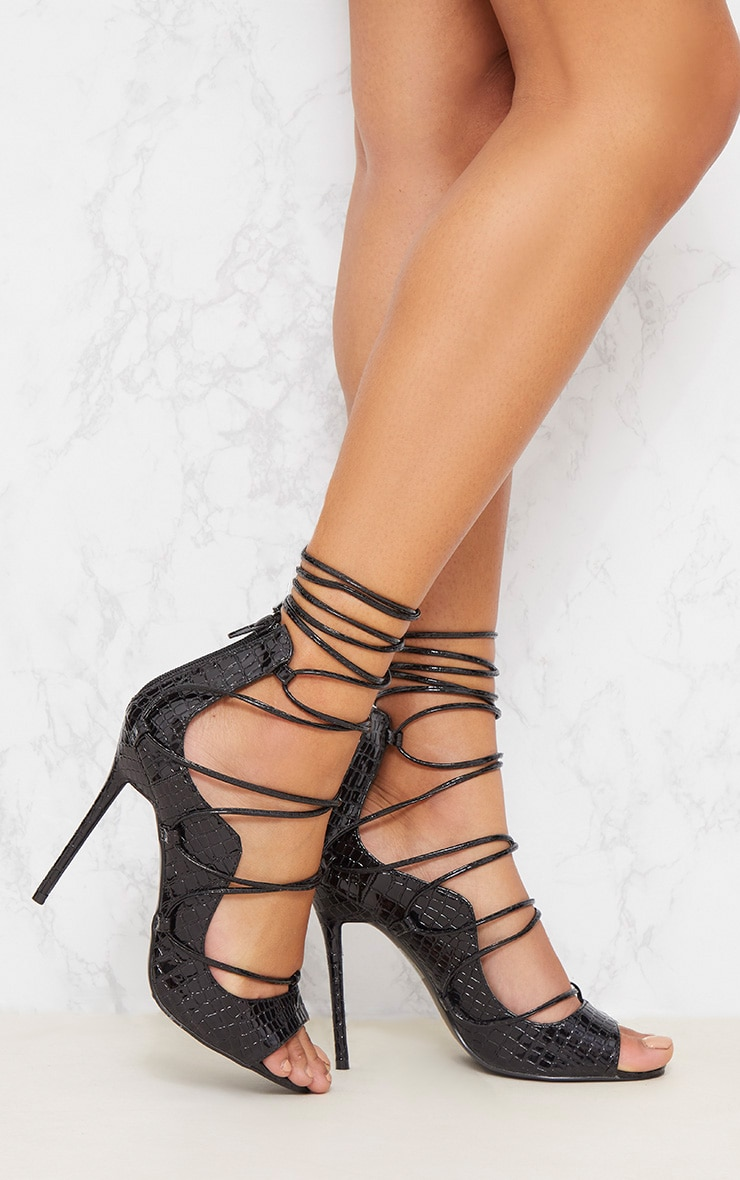 Black Ankle Lace Up Heel  1