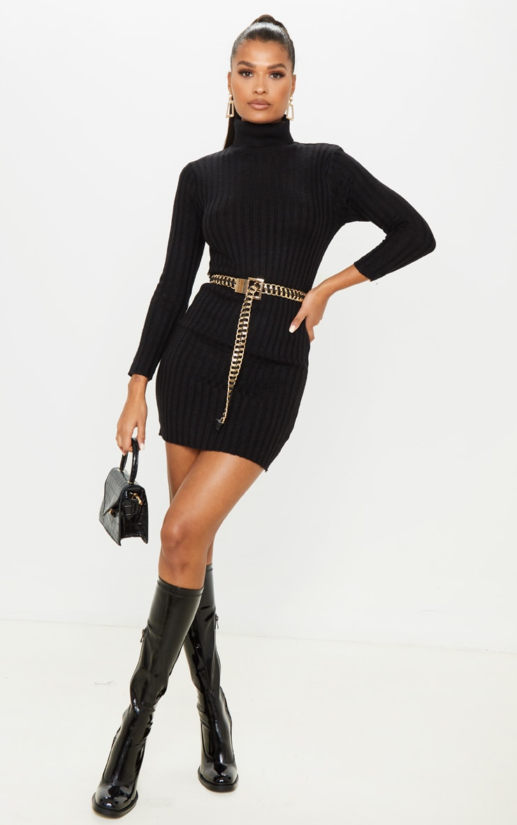 Black Roll Neck Knitted Sweater Dress 1