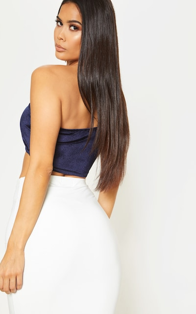 Navy Velvet Strappy Crop Top