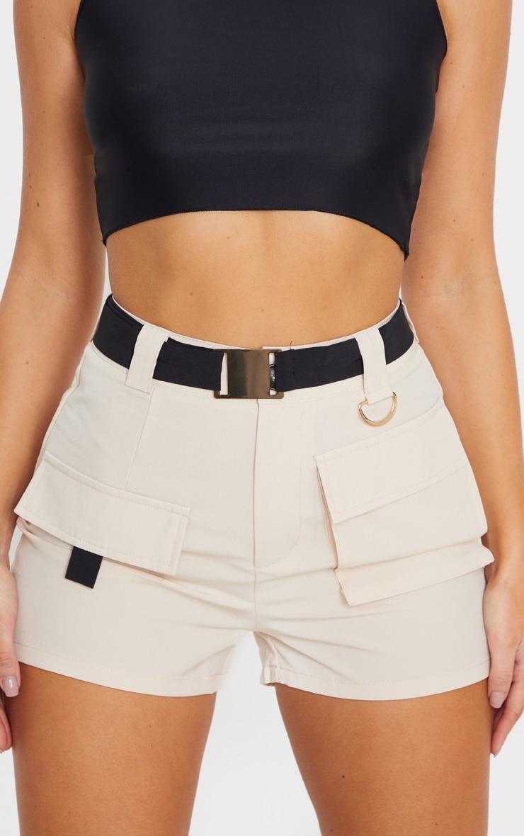 Stone Belted Waist Cargo Pocket Front Shorts 7