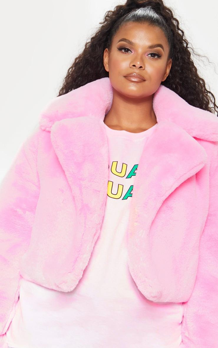 Plus Pink Faux Fur Cropped Jacket  5
