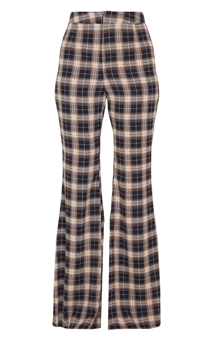 Black Check Print Tailored Extreme Flared Pants 5