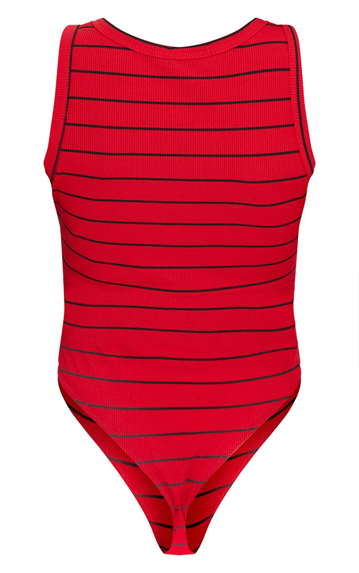 Red Stripe Jersey Button Front Bodysuit  4