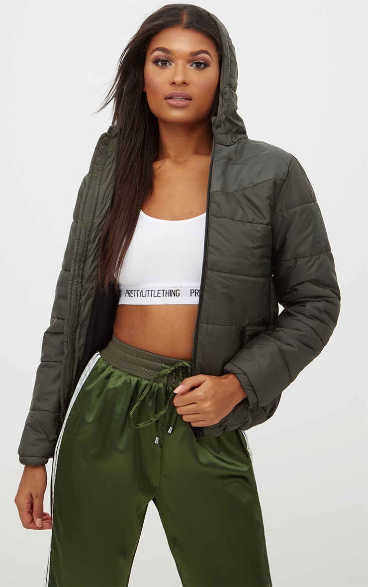 Khaki Hooded Puffer Jacket 1