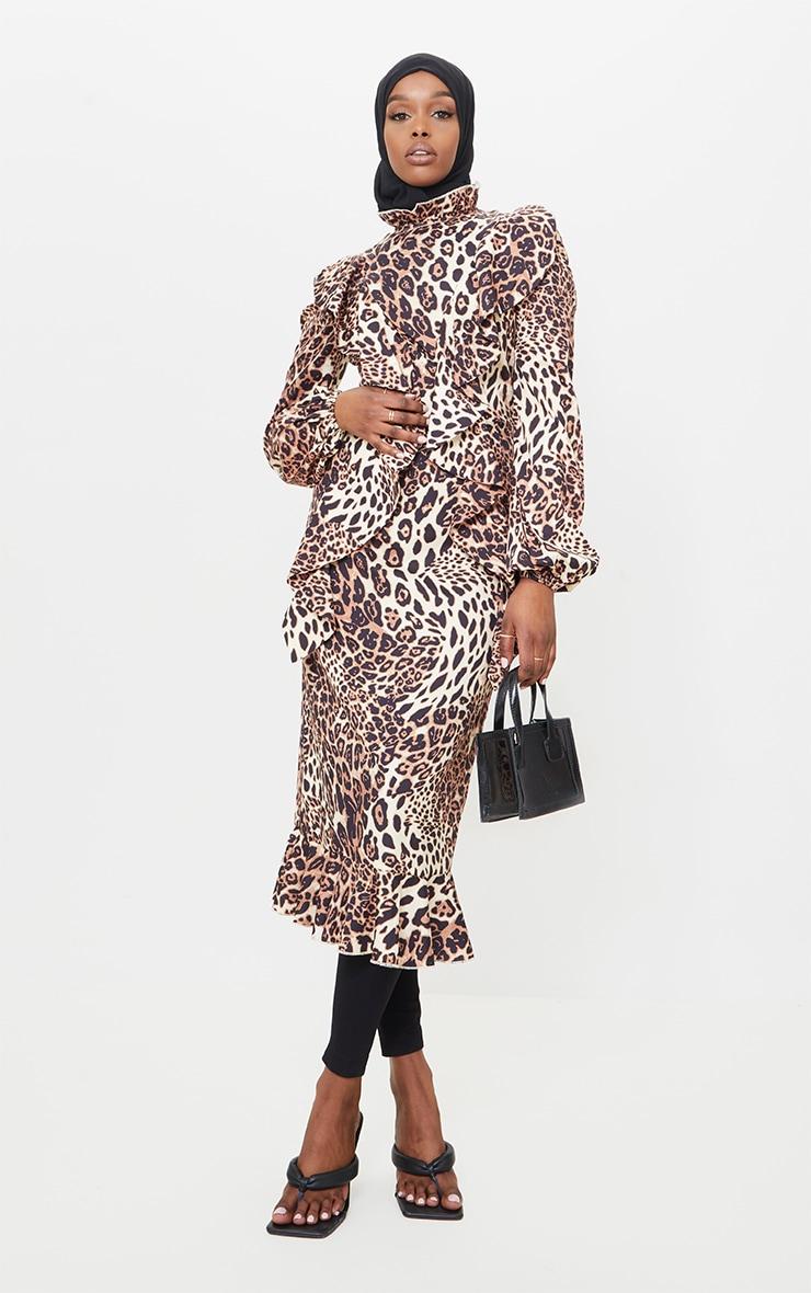 Tan Leopard Printed Frill High Neck Midi Dress 1