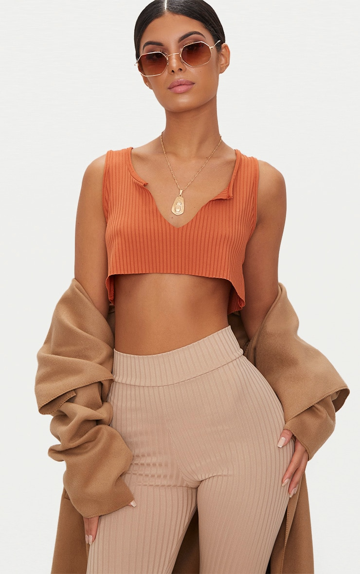 Burnt Orange Rib Deep V Raw Edge Crop Top 2