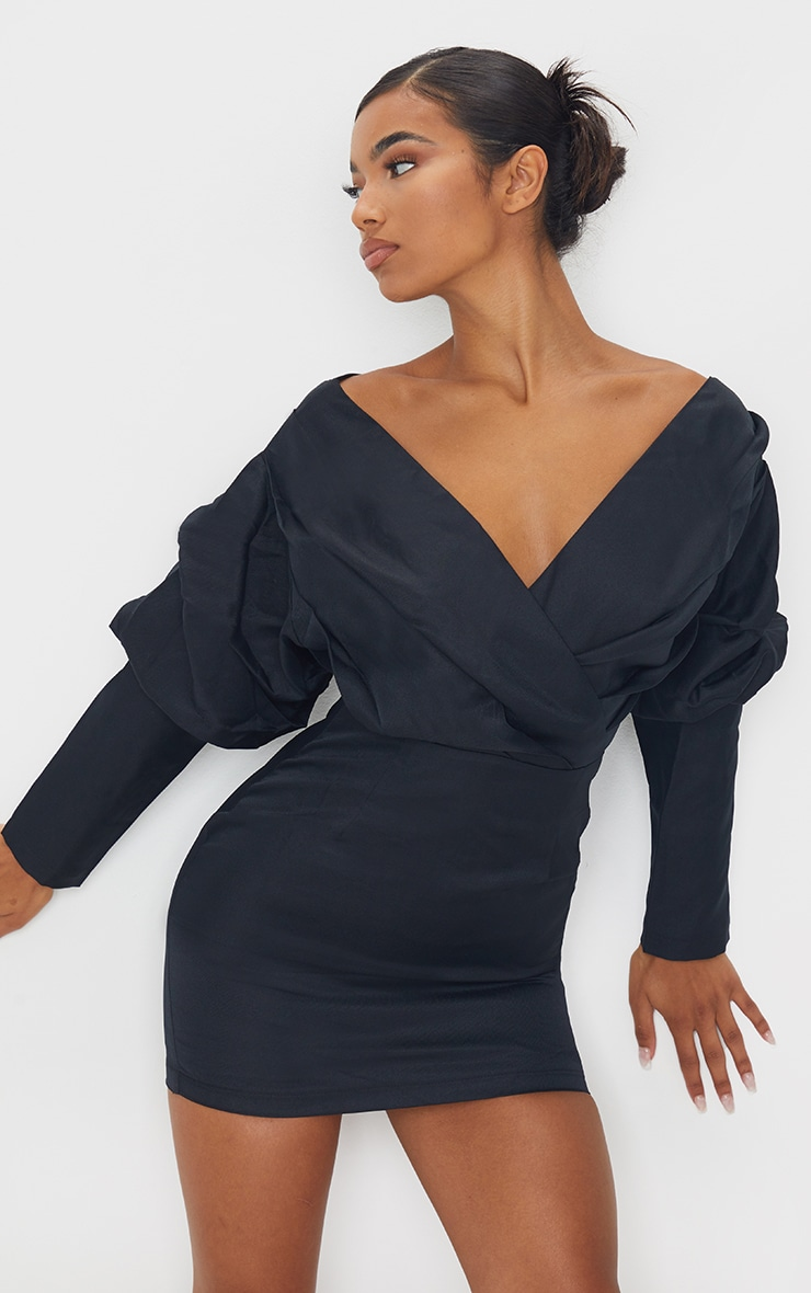 Black Off The Shoulder Ruched Bodycon Dress 1
