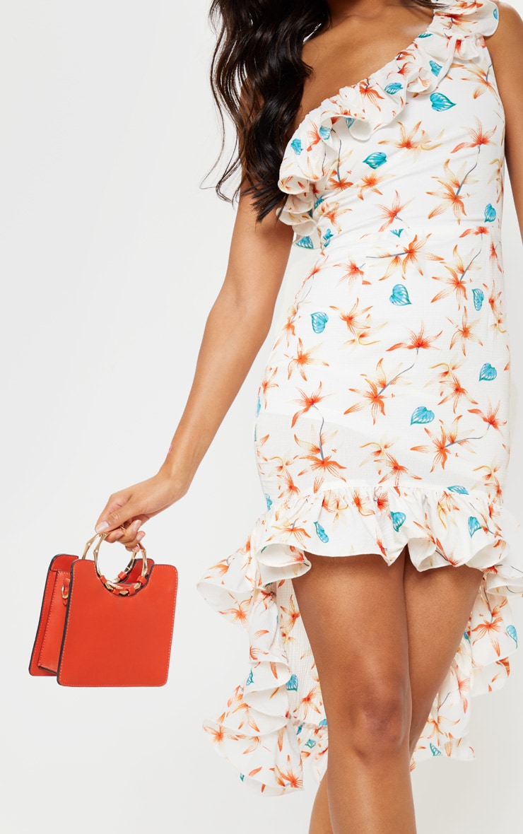 White Floral Print One Shoulder Midi Dress 5