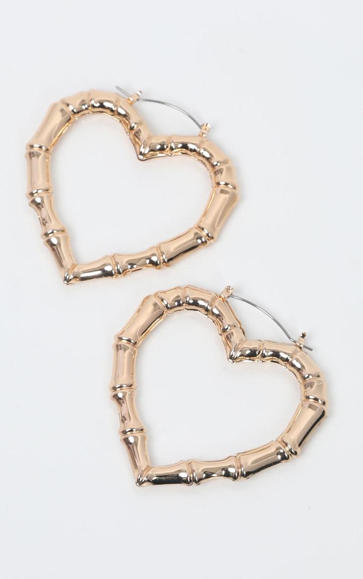 Gold Bamboo Heart Earrings 2