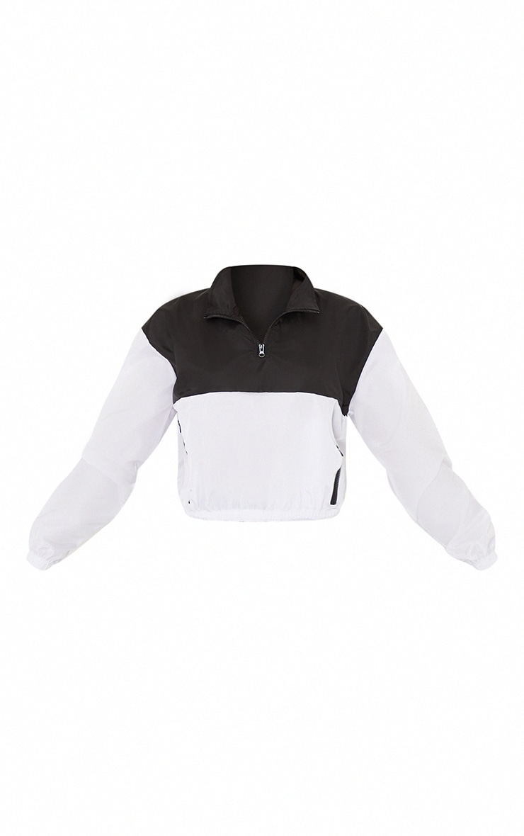 Monochrome Shell Color Panel Front Contrast Zip Cropped Pull Over Tracksuit 5