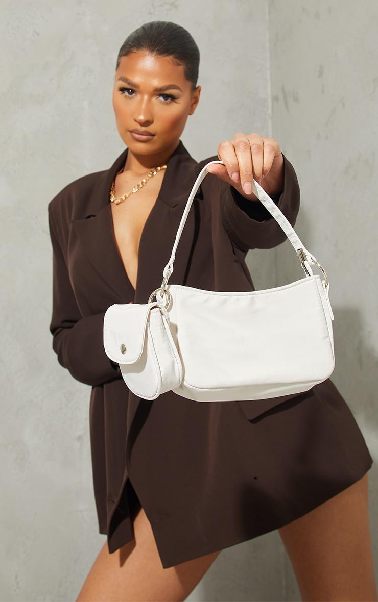 Cream Nylon Mini Pocket Shoulder Bag 1