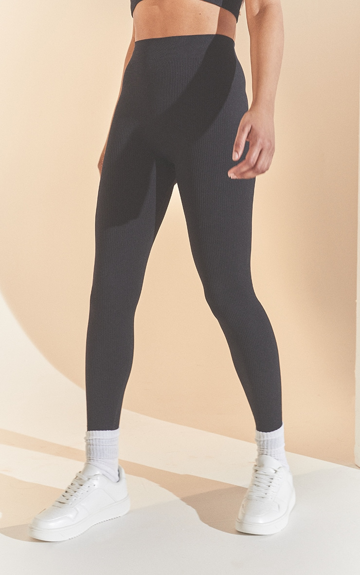 Black Structured Contour Ribbed Leggings 2