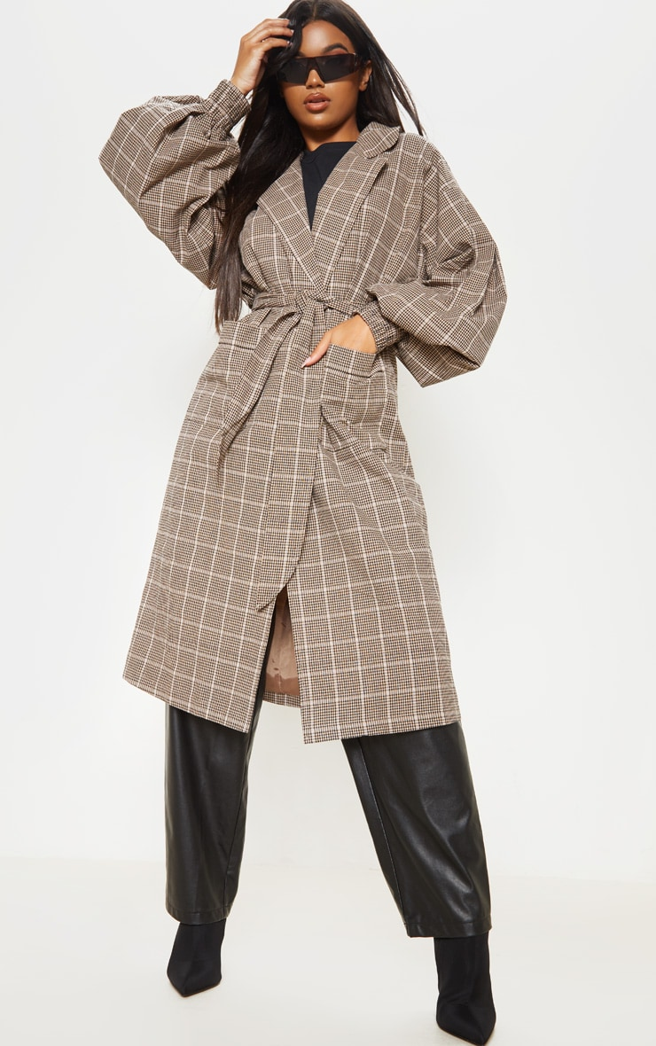 stone-check-print-balloon-sleeve-tie-waist-trench- by prettylittlething