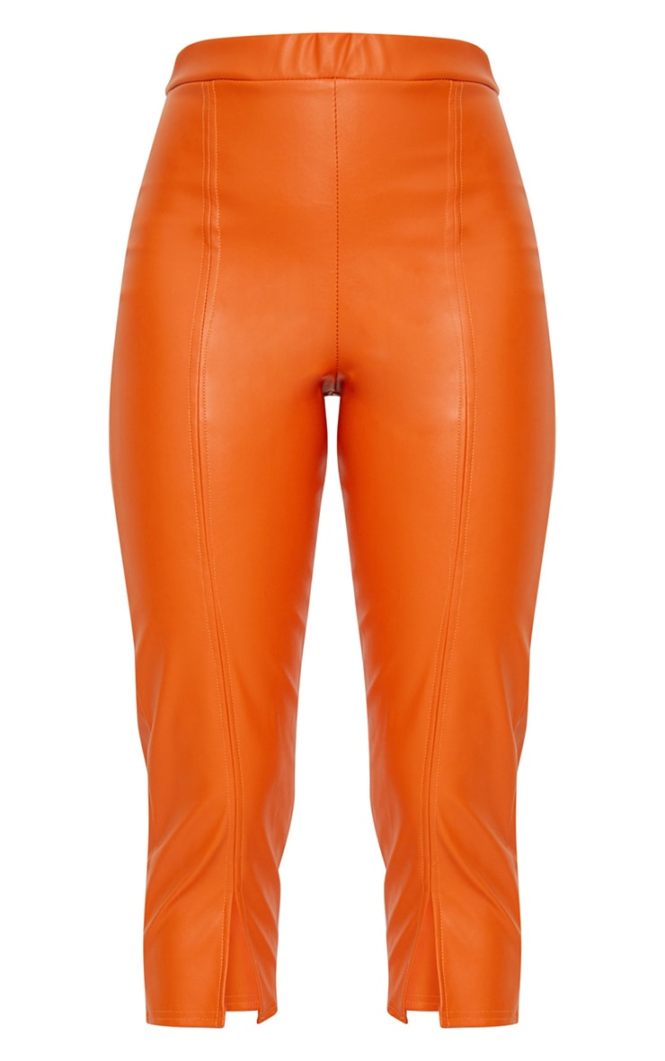 Orange Faux Leather Split Cropped Trousers 3