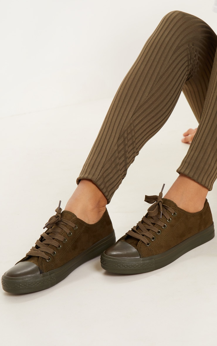 Khaki Faux Suede Lace Up Trainer