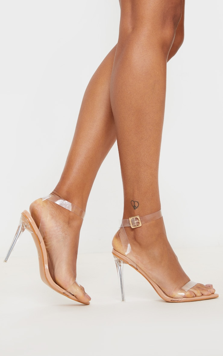 Nude Point Toe Clear Strappy Heeled Sandal 2