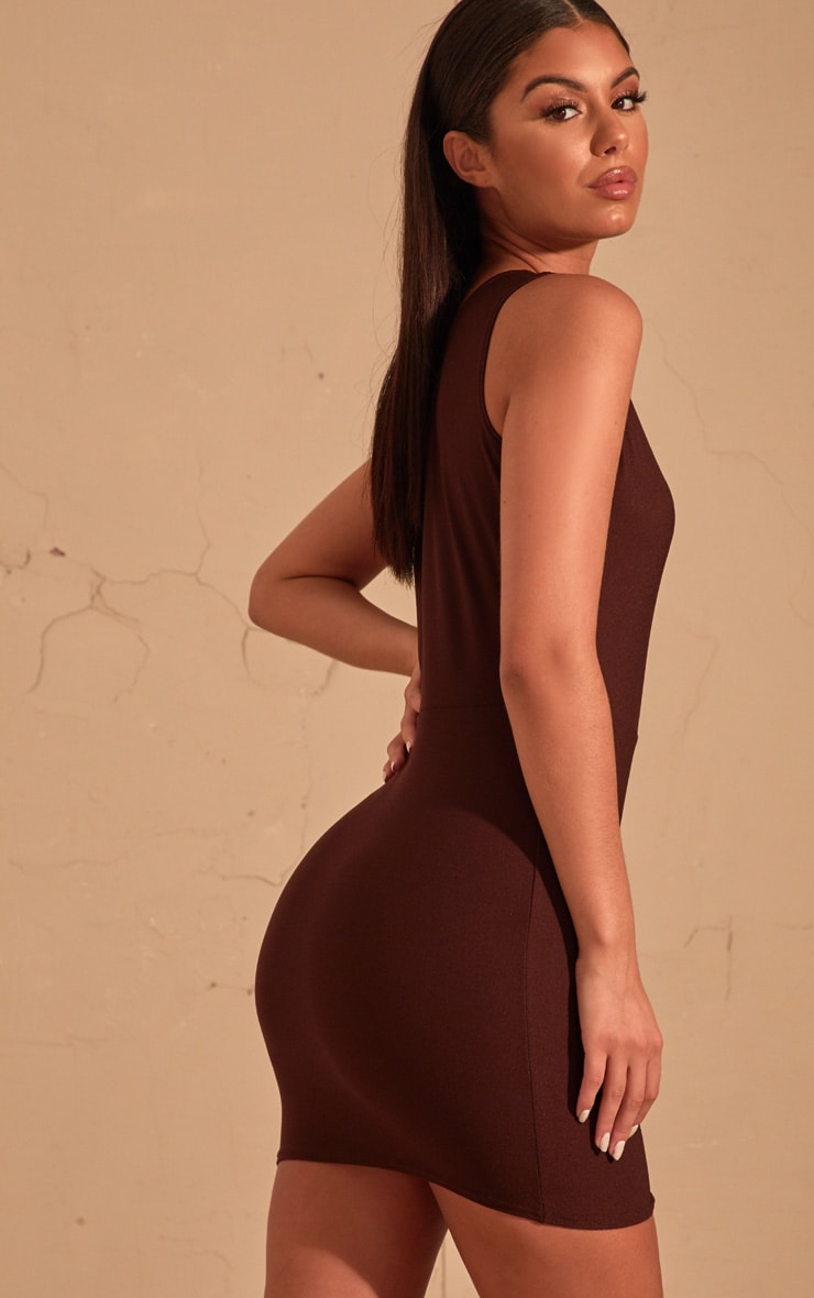Chocolate Brown One Shoulder Bodycon Dress  2